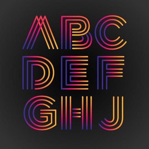 Des lignes colorées abstraites majuscules vecteur