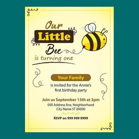 Invitation d'anniversaire modifiable d'abeille mignonne pour des enfants vecteur