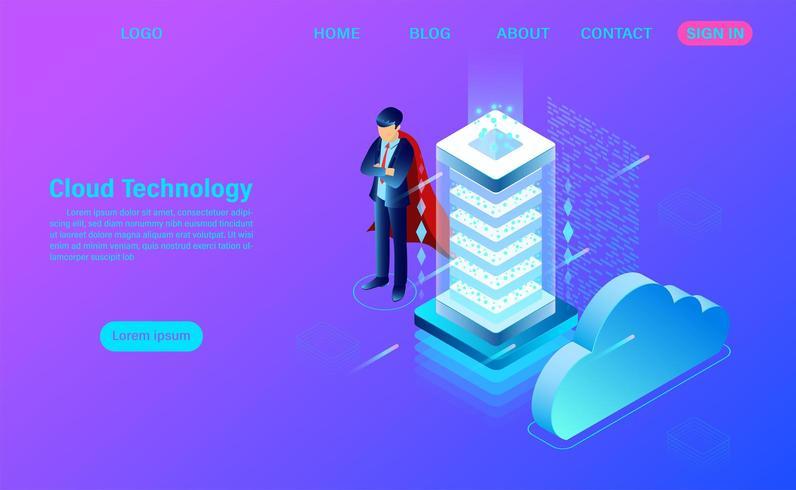 technologie de nuage moderne et concept de réseautage. Technologie informatique en ligne vecteur