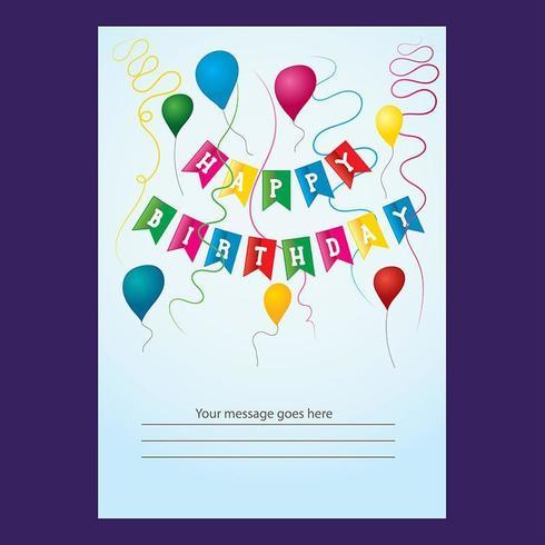 Conception de cartes d'anniversaire de ballons de ruban coloré vecteur