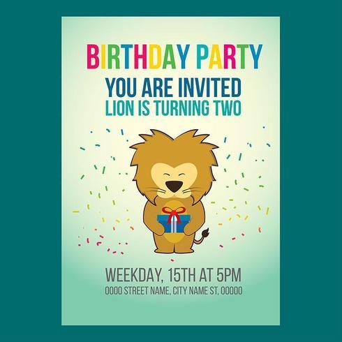 Invitation mignonne de fête d'anniversaire de lion vecteur