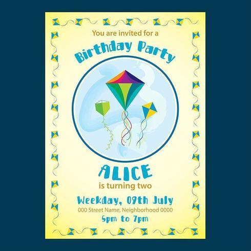Invitation d'anniversaire mignonne jaune pour des enfants vecteur