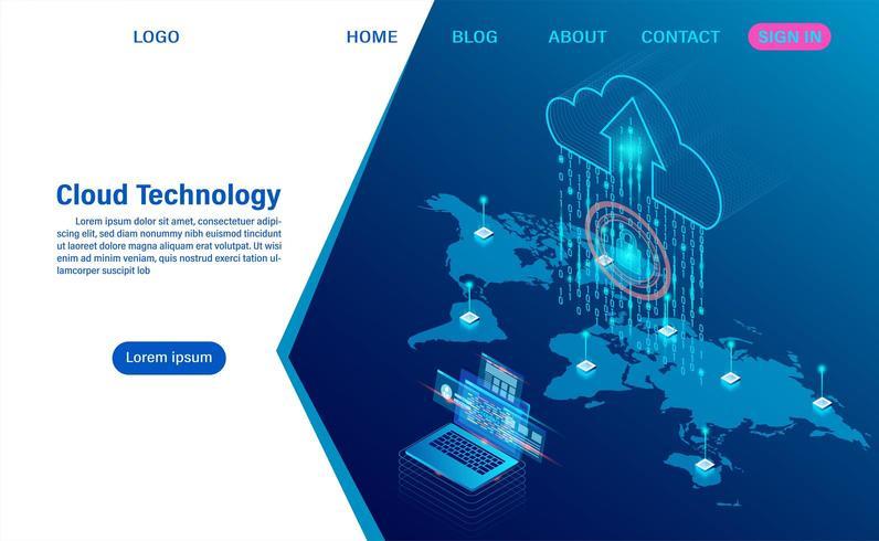 technologie de nuage moderne et concept de réseautage. vecteur