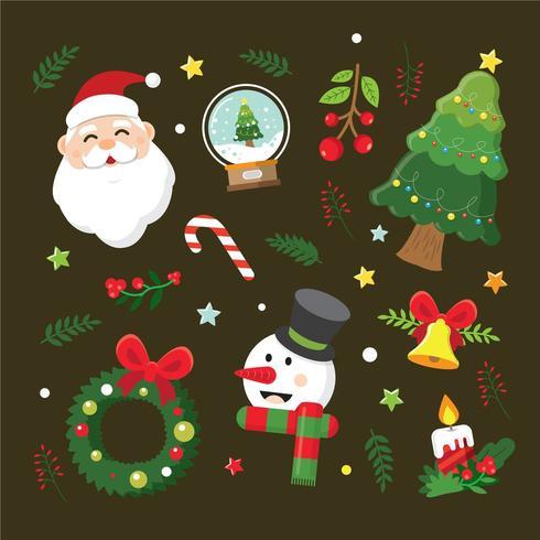 Collection d'éléments de Noël vecteur