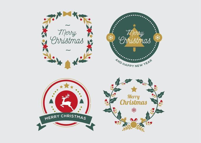 Collection d'insignes de Noël vecteur