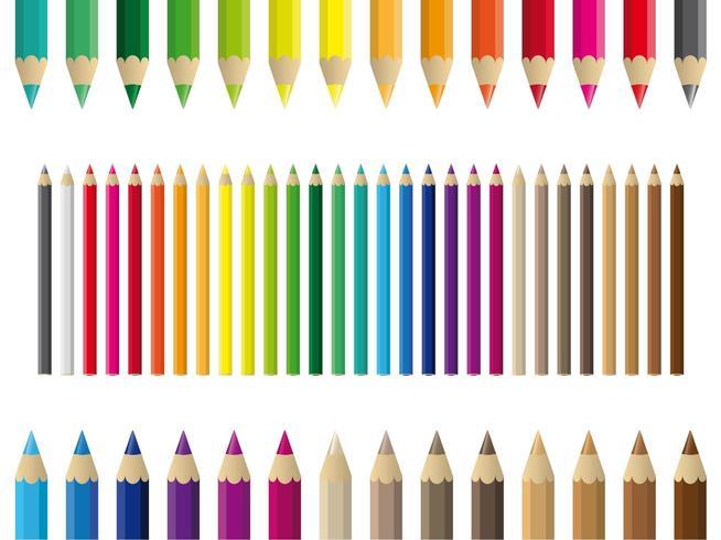 Ensemble de crayons de couleur colorés vecteur