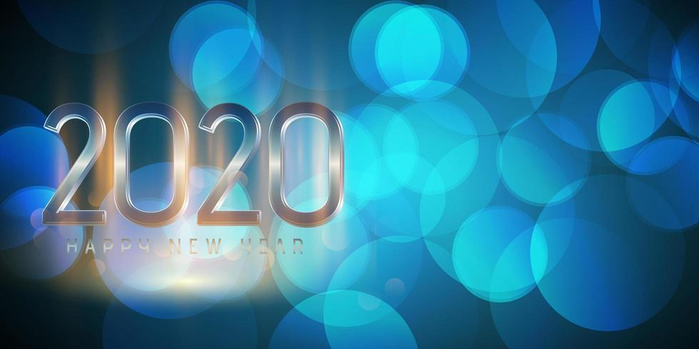 Bonne année, conception de bannière de lumières bokeh vecteur