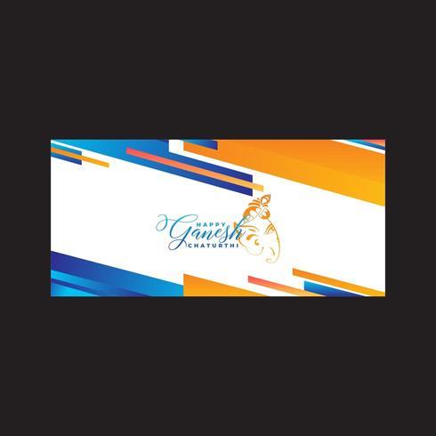 Heureux Ganesh Abastract Bleu Et Orange vecteur