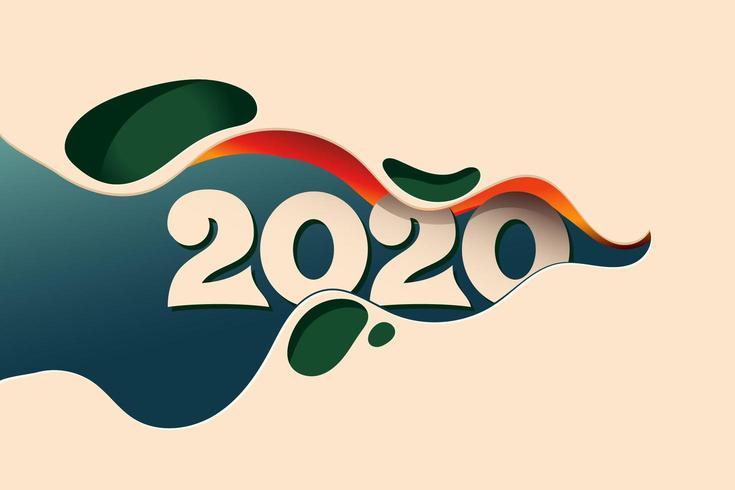Conception créative du nouvel an 2020 vecteur