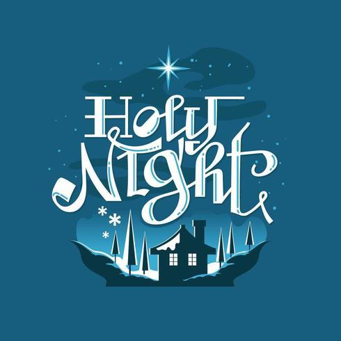 Nuit sacrée scène de Noël enneigé vecteur