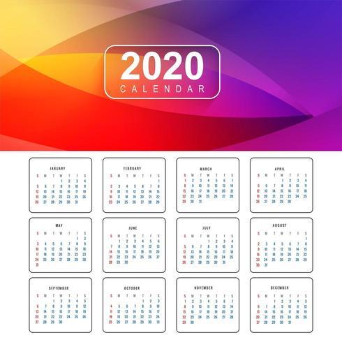 Vecteur de conception de calendrier coloré nouvel an 2020