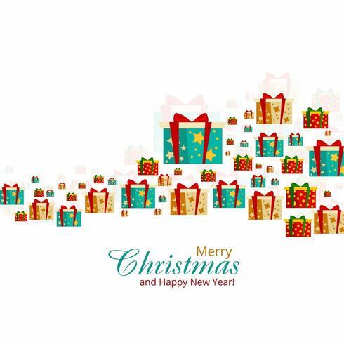 Fond de fête de Noël boîte de cadeau décoratif coloré vecteur