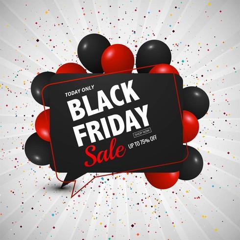 fond de vente vendredi noir avec conception de ballons vecteur