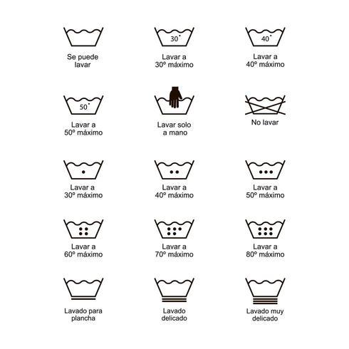 Jeu d'icônes de symboles de blanchisserie, chiffon d'étiquette impression illustration vectorielle. vecteur