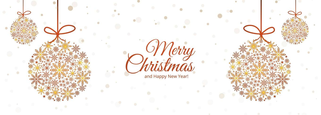 conception de bannière de boule de Noël de flocons de neige décoratifs vecteur