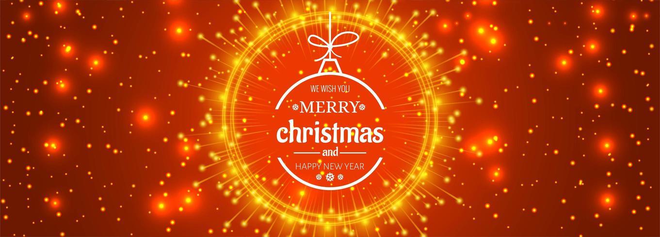 bannière de Noël pour boule de Noël pour fond de paillettes brillantes vecteur
