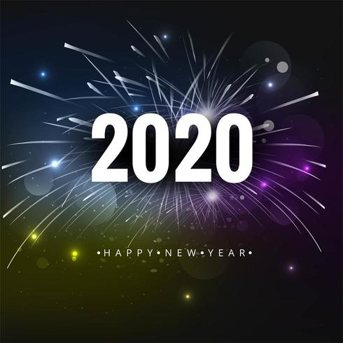 Feux d'artifice pour le texte vecteur 2020 bonne année vacances fond
