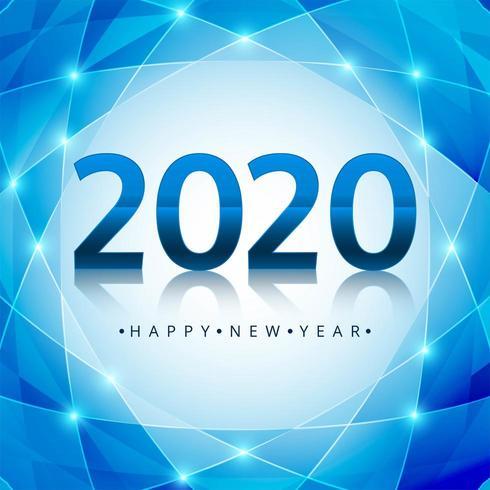 Conception de texte bleu brillant 2020 nouvel an vecteur