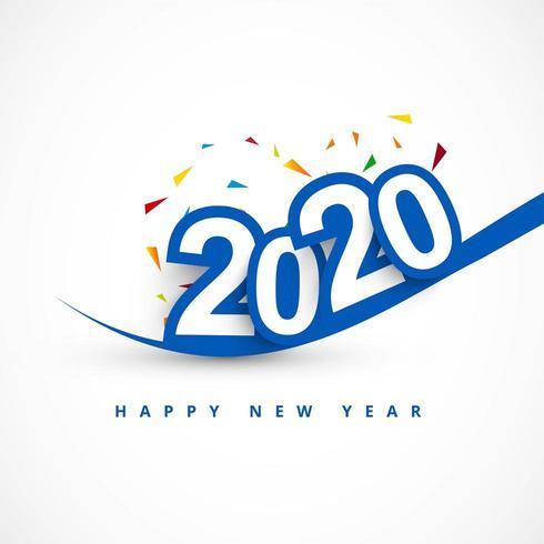 Carte de voeux pour le texte créatif 2020 du nouvel an vecteur