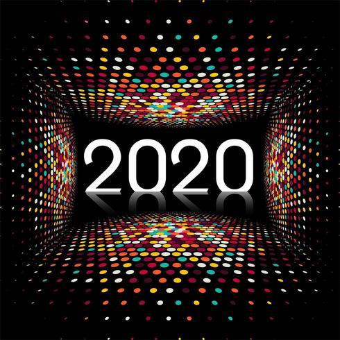 Nouvel An créatif 2020 texte design lumière disco vecteur