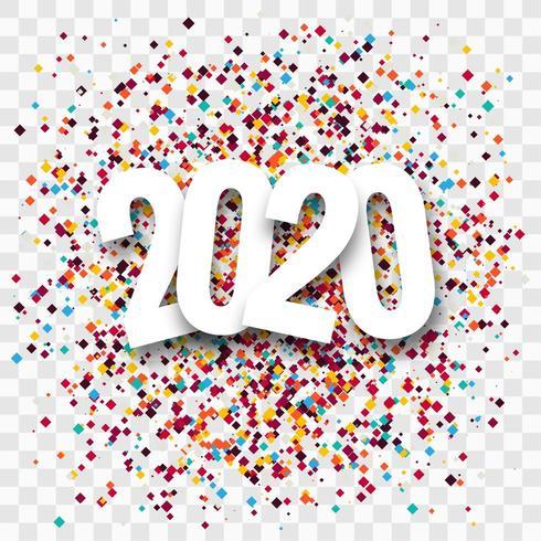 Nouvel An créatif 2020 conception de voeux de confettis vecteur