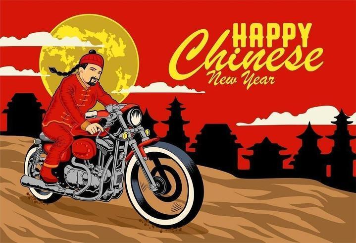 Carte de voeux de nouvel an chinois avec homme en tenue traditionnelle à moto vecteur