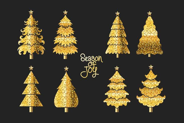 Conception de sapin de Noël dans les couleurs noir et or vecteur
