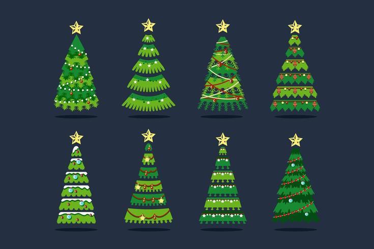 Arbre de Noël de styles différents avec flocon de neige, ampoules et rubans vecteur
