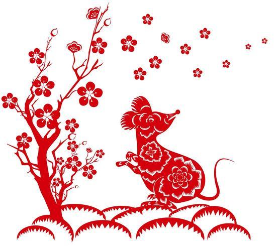 Année de la souris avec arbre vecteur