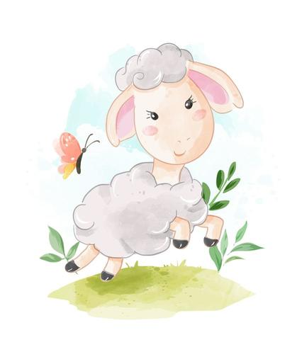 moutons courir dans le champ vecteur