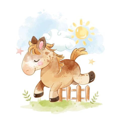 Cheval sautant à travers la clôture vecteur