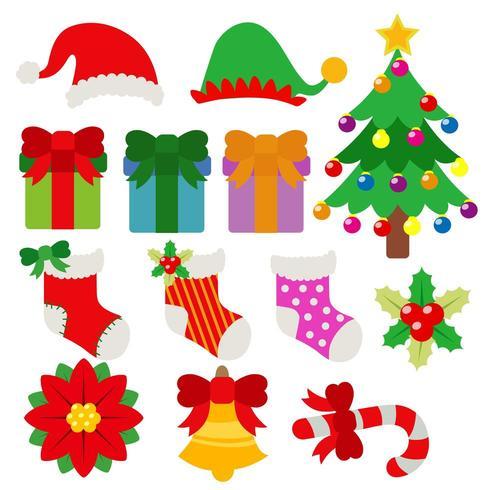 jeu de dessin animé de Noël élément objet vacances vecteur