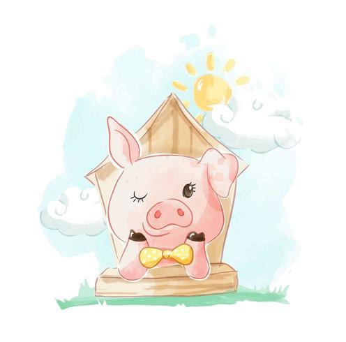 cochon dans la maison de campagne vecteur