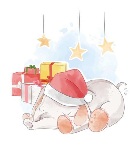 éléphant dormant avec des cadeaux vecteur