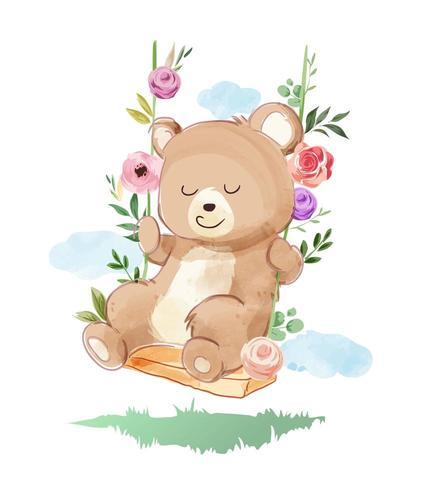 ours se balançant avec des fleurs vecteur