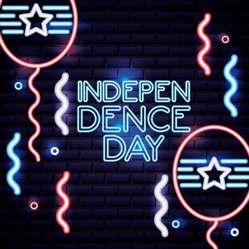 fête de l'indépendance américaine enseigne au néon vecteur