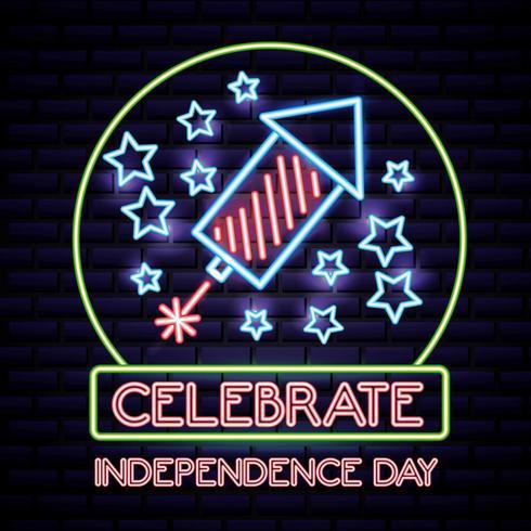Fête de l'indépendance américaine au néon avec fusée et étoiles vecteur