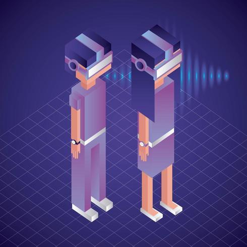 personnages isométriques de réalité virtuelle vecteur
