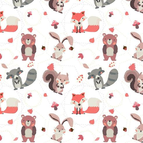 modèle sans couture de renard, raton laveur, écureuil, lapin et ours de la forêt automne animaux vecteur