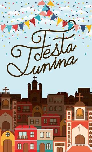 festa junina avec scène de village et guirlandes vecteur