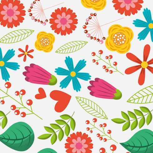 modèle de saison naturelle de fleurs de printemps vecteur