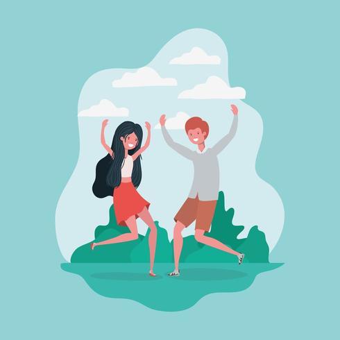 jeune couple sautant célébrant dans les personnages du parc vecteur