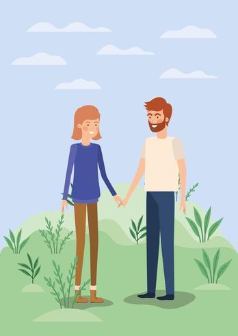 jeune couple amoureux sur le terrain vecteur
