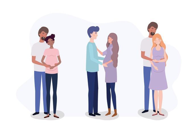 groupe d'amoureux couples personnages de grossesse vecteur