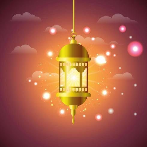lampe de ramadan kareem doré suspendu vecteur