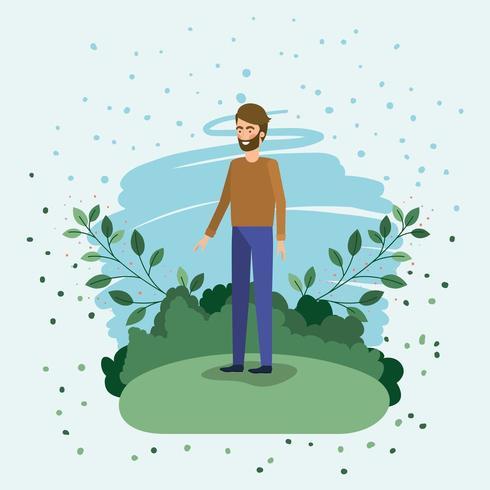 jeune homme debout dans le champ vecteur