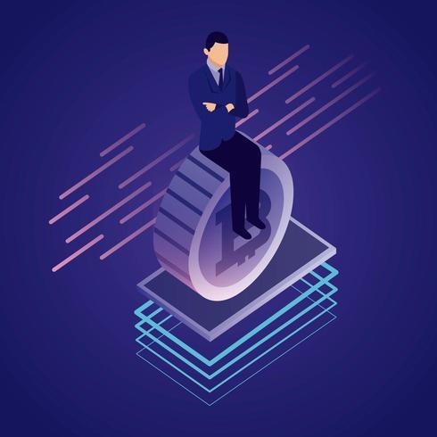 Homme d'affaires Bitcoin réseau de données vecteur