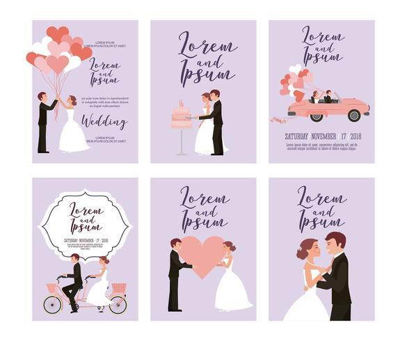 Jeu de cartes de mariage vecteur