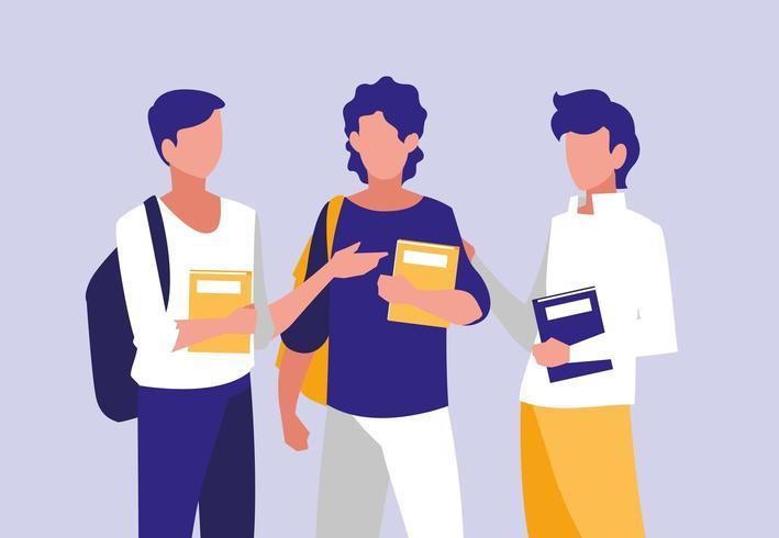 jeunes garçons modelant avec des cahiers vecteur