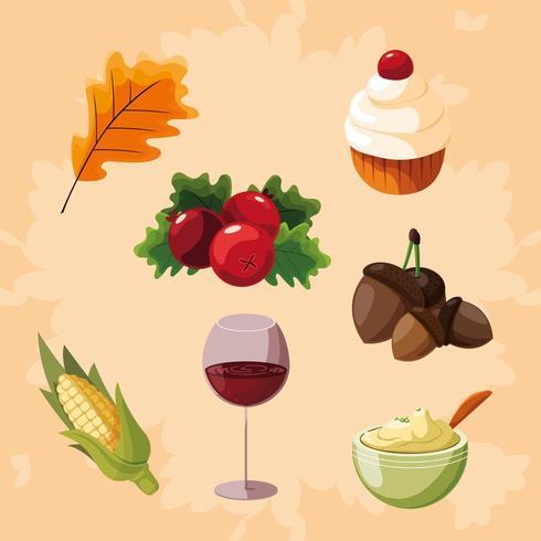 icônes de jeu de nourriture de thanksgiving vecteur